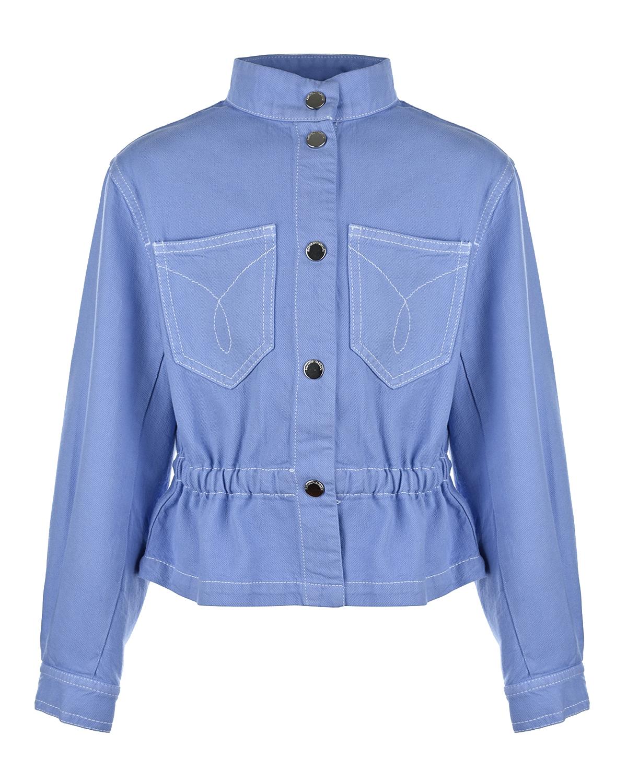 Легкая куртка с нагрудными карманами Emporio Armani детская, Сиреневый, 61%хлопок+39%лиоцелл  - купить со скидкой