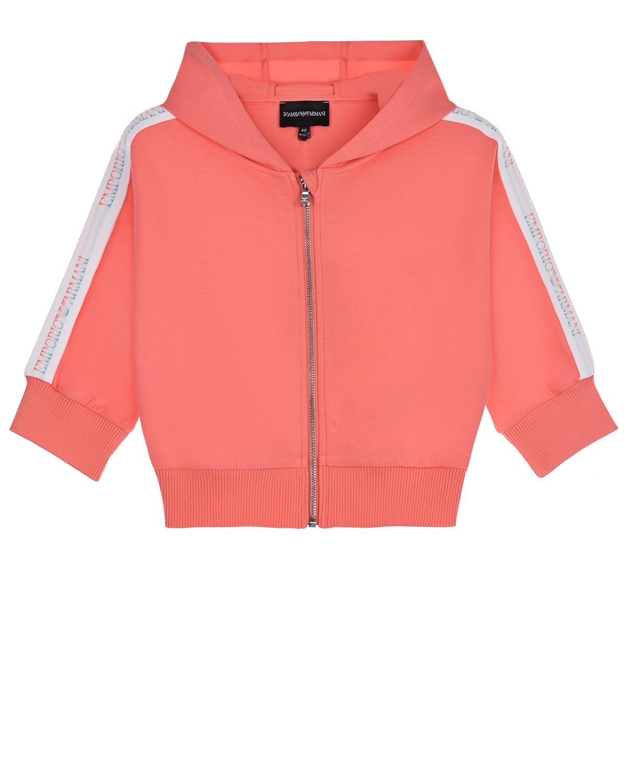 Купить Куртка спортивная с белыми лампасами Emporio Armani детская, Нет цвета, 76%хлопок+18%полиэстер+6%эластан, 98%полиэстер+2%эластан, 90%полиэстер+10%эластан