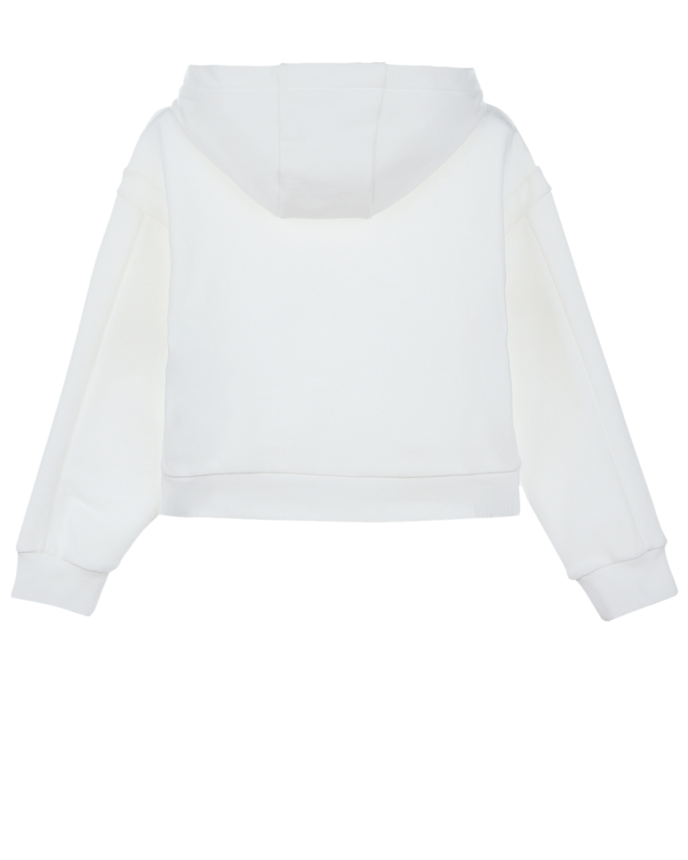Купить Белая толстовка-худи с логотипом в тон Emporio Armani детская, Белый, 100%хлопок, 100%полиамид, 95%хлопок+5%эластан