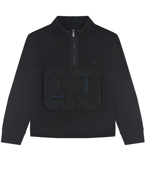 Свитшот с накладным карманом Emporio Armani детский, Черный, 69%полиэстер+25%вискоза+6%эластан, 100%хлопок  - купить со скидкой