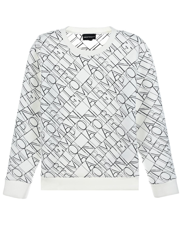 Купить Белый свитшот со сплошным принтом-логотипом Emporio Armani детский, 64%полиэстер+31%вискоза+5%эластан, 100%полиэстер, 100%хлопок