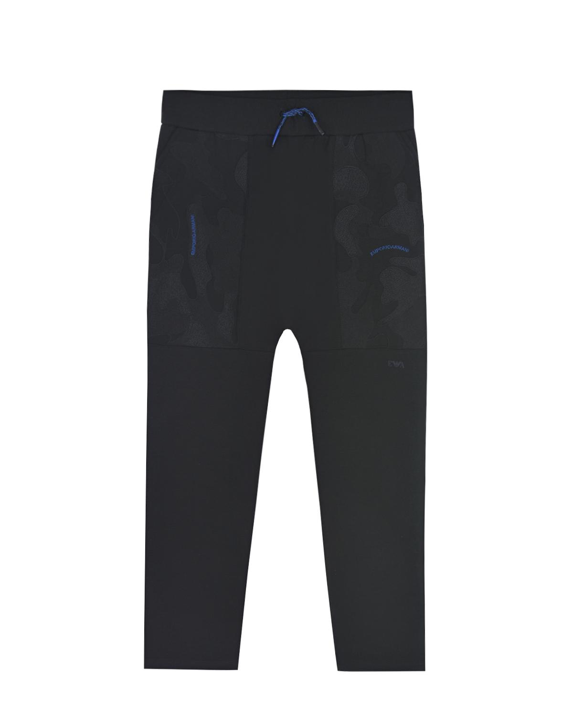 Купить Спортивные брюки с камуфляжными лампасами Emporio Armani детские, Черный, 60%полиэстер+33%вискоза+7%эластан, 96%хлопок+4%эластан, 100%полиэстер