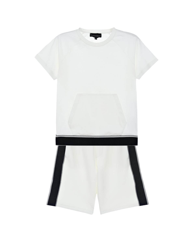 Купить Комплект из футболки и шорт Emporio Armani детский, Белый, 100%хлопок, 55%полиамид+39%полиэстер+6%эластан, 75%хлопок+19%полиэстер+6%эластан, 95%хлопок+5%эластан