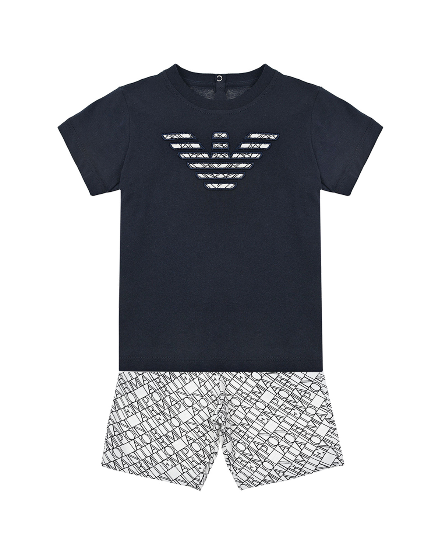 Купить Комплект для мальчиков из футболки и шорт Emporio Armani детский, Мультиколор, 100%хлопок