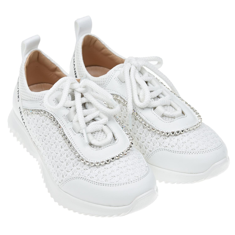 Купить Белые кроссовки со стразами Ermanno Scervino детские, Белый, верх-35% хлопок 25% полиэстер 40% кожа, подкладка-100% кожа, подошвва-100% резина