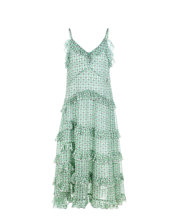 Зеленый сарафан на бретельках Ermanno Scervino детский, 100%вискоза, 100%хлопок  - купить со скидкой