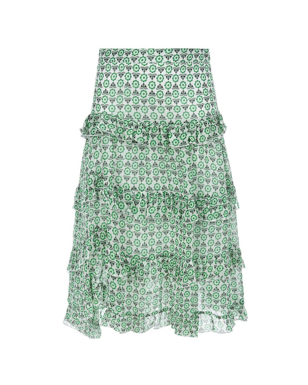Купить Зеленая юбка с оборками Ermanno Scervino детская, Зеленый, 100%вискоза, 100%хлопок