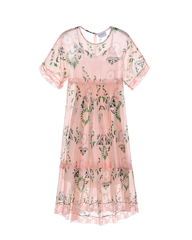Купить Длинное пудровое платье с кружевными вставками Ermanno Scervino детское, Нет цвета, 100%вискоза, 100%хлопок