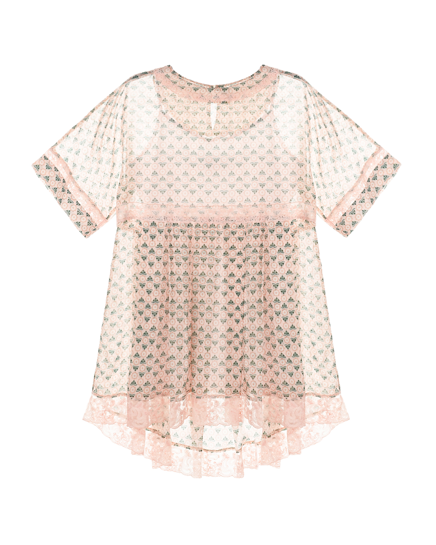 Пудровое платье с кружевными вставками Ermanno Scervino детское, Нет цвета, 100%вискоза, 100%полиамид, 100%хлопок  - купить со скидкой