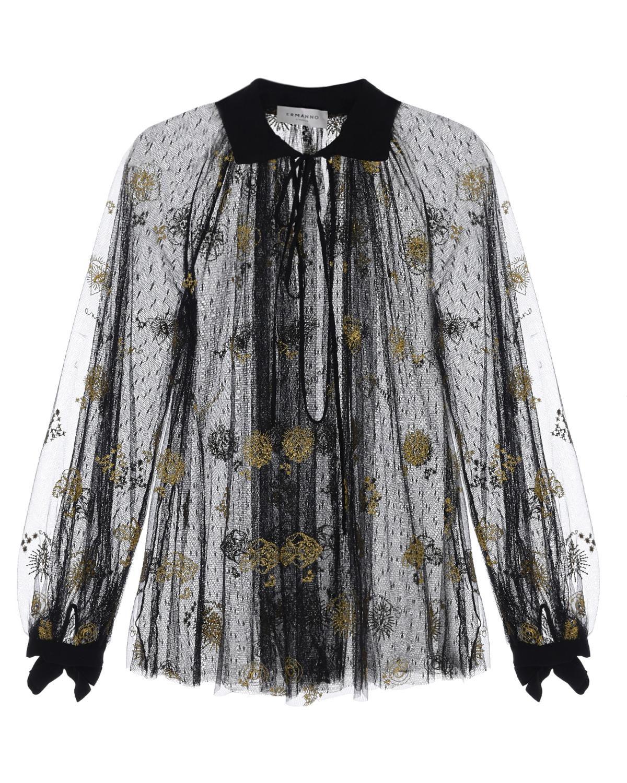 Купить Черная блуза с золотистой вышивкой Ermanno Ermanno Scervino, Черный, 51%полиамид+48%полиэстер+1%полиэстер металлизированный, 100%полиамид, 100%вискоза