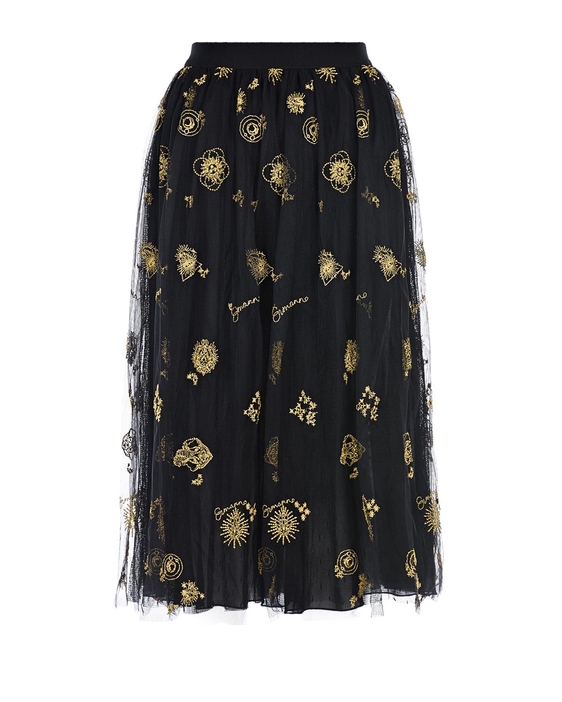 Купить Черная юбка с золотистой вышивкой Ermanno Ermanno Scervino, Черный, 51%полиамид+48%полиэстер+1%полиэстер металлизир., 100%полиамид, 100%вискоза, 80%хлопок+20%полиамид