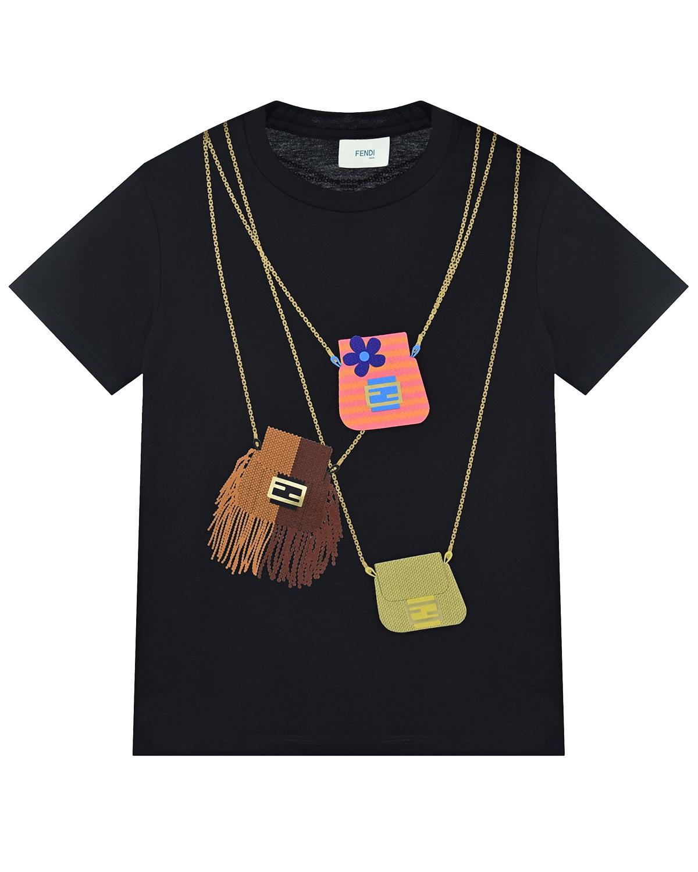 Купить Черная футболка с принтом сумки Fendi детская, Черный, 100%хлопок