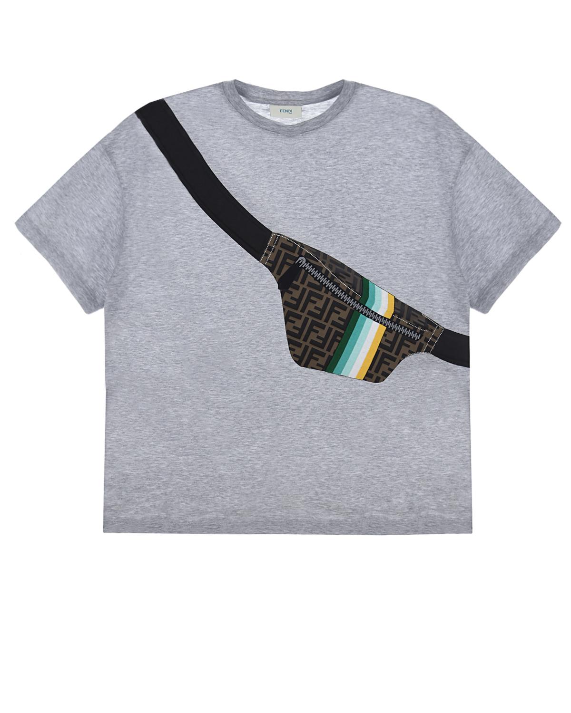 Купить Серая футболка с принтом сумка-пояс Fendi детская, Серый, 100%хлопок. 100%хлопок