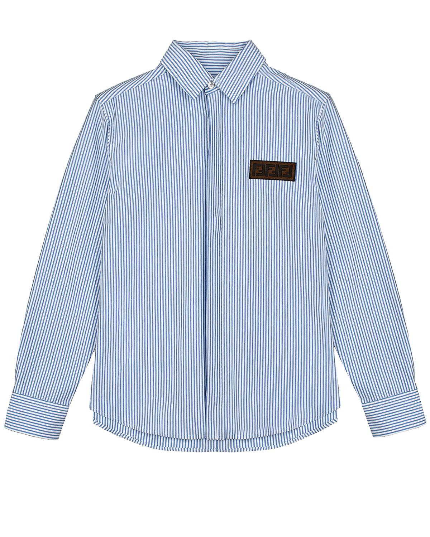 Купить Голубая рубашка в полоску Fendi детская, Голубой, 100%хлопок. 100%хлопок