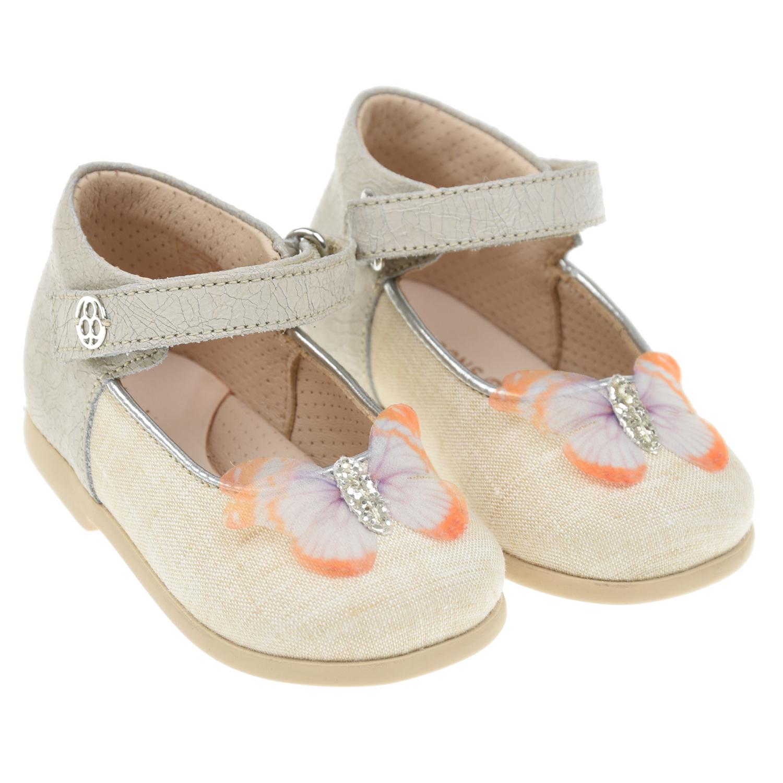 Купить Бежевые туфли с бабочкой Florens детские, Бежевый, Верх:55% кожа 45% лен, Подкладка:100% кожа, Стелька:100% кожа, Подошва:100% резина