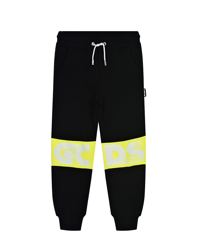 Купить Черные спортивные брюки с желтыми вставками GCDS детские, Нет цвета, 100%хлопок