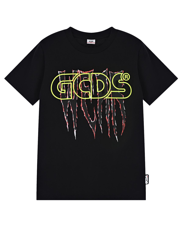 Купить Черная футболка с неоновым логотипом GCDS детская, Нет цвета, 100%хлопок