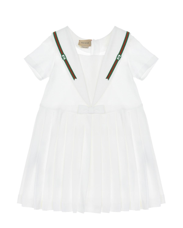 Купить Белое платье с отделкой в полоску GUCCI детское, Белый, 96%хлопок+4%эластан, 100%полиэстер