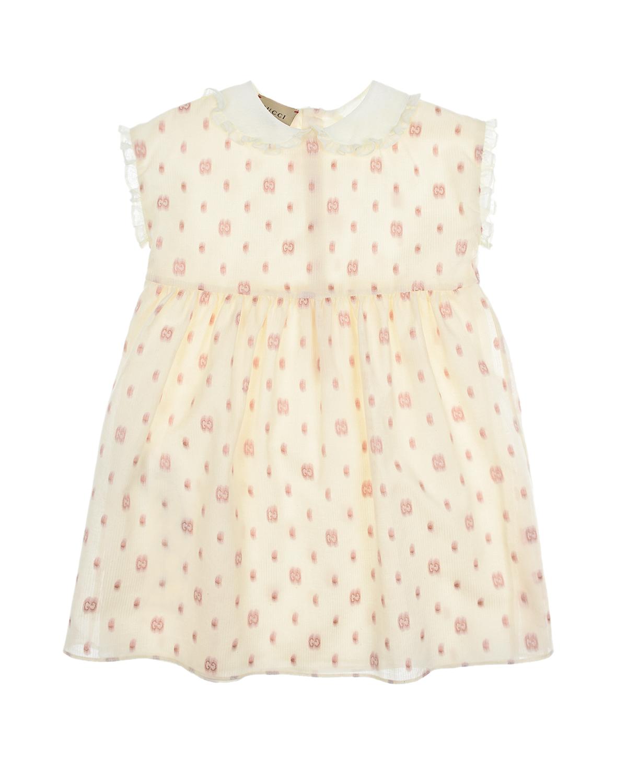 Купить Платье кремового цвета с вышитой монограммой GUCCI детское, Кремовый, 95%хлопок+5%полиэстер, 100%полиамид, 100%полиэстер, 100%хлопок