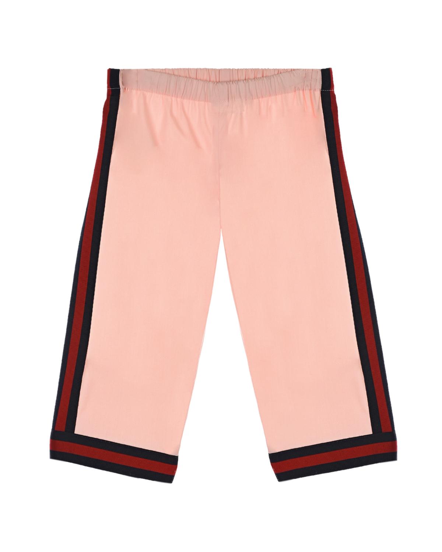 Розовые брюки с лампасами GUCCI детские, Розовый, 96%хлопок+4%эластан, 60%вискоза+40%хлопок  - купить со скидкой