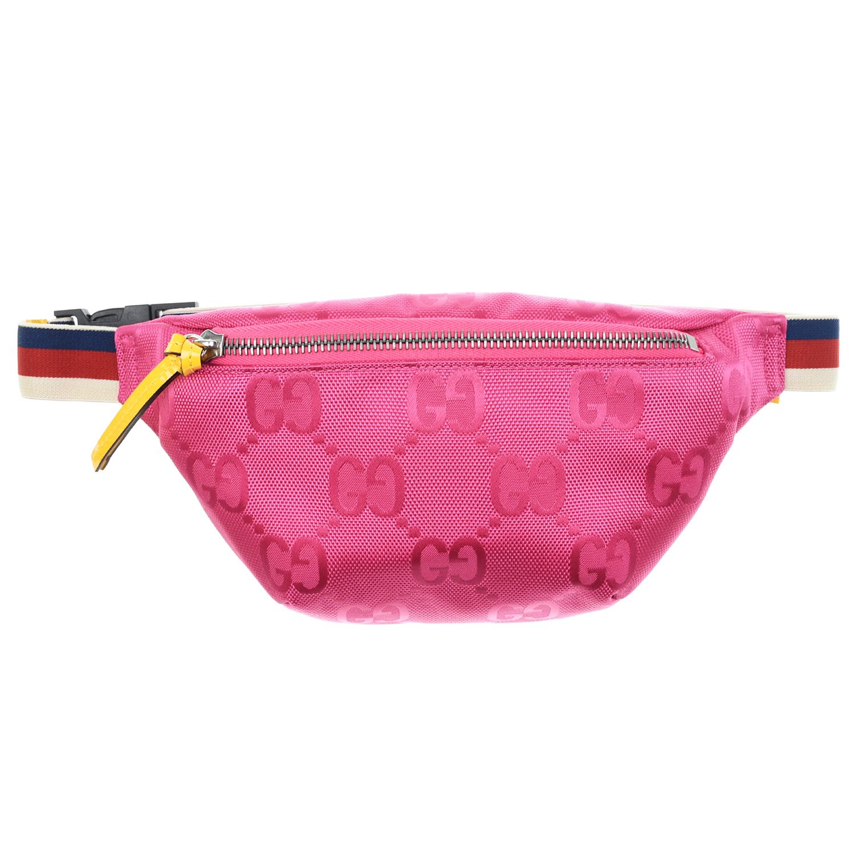 Купить Розовая сумка-пояс с принтом GG, 22x12x4 см GUCCI детская, Розовый, 100%нейлон
