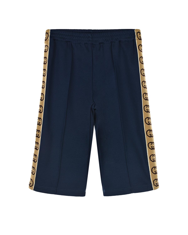 Купить Спортивные брюки с трикотажными лампасами GG GUCCI детские, Синий, 55%полиэстер+45%хлопок, 100%полиамид