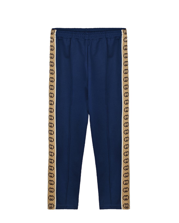 Купить Синие спортивные брюки с лампасами GG GUCCI детские, Синий, 55%полиэстер+45%хлопок. 100%полиамид
