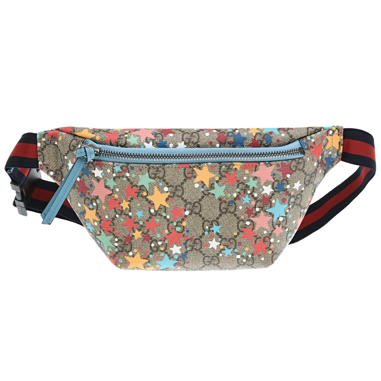 Купить Поясная сумка с монограммой GG 22x13x3, 5 см GUCCI детская, Мультиколор, 60%полиуретан+20%хлопок+20%полиэстер