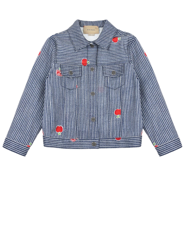 Купить Джинсовая куртка в полоску GUCCI детская, Голубой, 98%хлопок+2%эластан