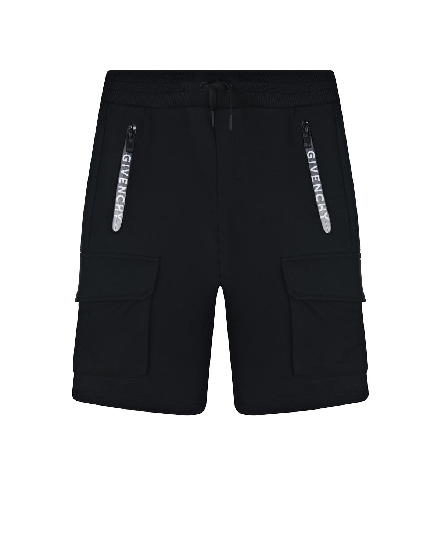 Купить Черные бермуды с накладными карманами Givenchy детские, Черный, 100%хлопок, 98%хлопок+2%эластан, 86%хлопок+14%эластан