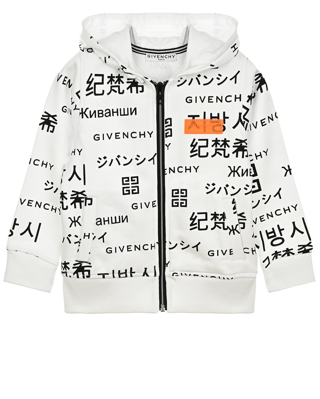 Купить Спортивная куртка с логотипом Givenchy детская, Белый, 86%хлопок+14%полиэстер, 98%хлопок+2%эластан, 100%хлопок