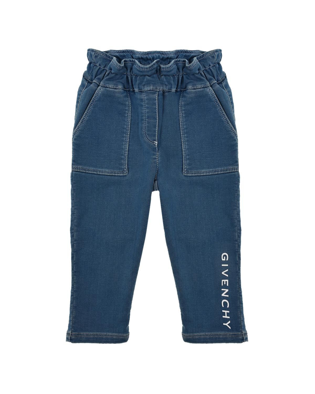 Купить Джинсы с накладными карманами Givenchy детские, Голубой, 63%хлопок+33%полиэстер+4%эластан, 98%хлопок+2%эластан