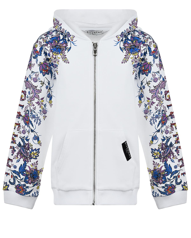 Купить Спортивная куртка с цветочным принтом на рукавах Givenchy детская, Белый, 94%хлопок+6%эластан, 98%хлопок+2%эластан
