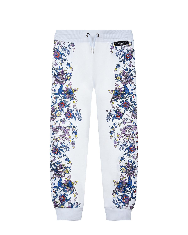 Купить Спортивные брюки с цветочным принтом Givenchy детские, Белый, 98%хлопок+2%эластан, 94%хлопок+6%эластан