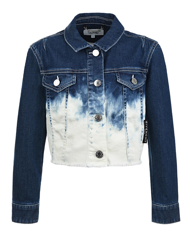 Купить Джинсовая куртка с логотипом на спине Givenchy детская, Мультиколор, 98%хлопок+2%эластан, 100%хлопок