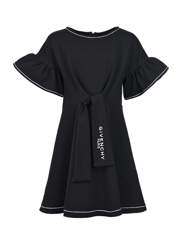 Купить Черное платье с рукавами-крылышками Givenchy детское, Черный, 100%хлопок, 41%хлопок+41%модал+10%эластан+8%полиамид