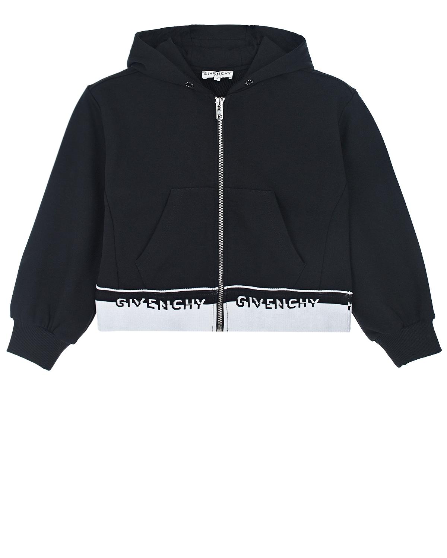 Купить Черная спортивная куртка Givenchy детская, Черный, 100%хлопок, 98%хлопок+2%эластан, 86%хлопок+14%полиэстер, 100%полиамид