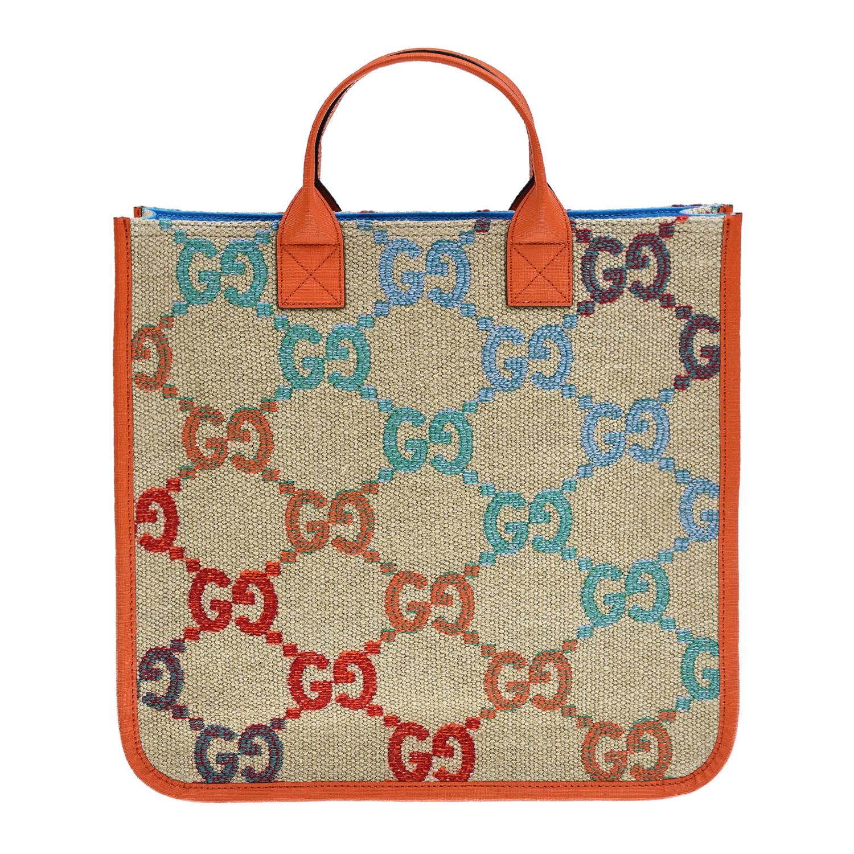 Бежевая сумка со сплошным логотипом, 40x33x6 см GUCCI детская разноцветного цвета