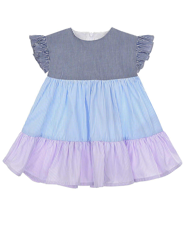 Купить Платье колорблок с принтом в полоску IL Gufo детское, Мультиколор, 100%хлопок
