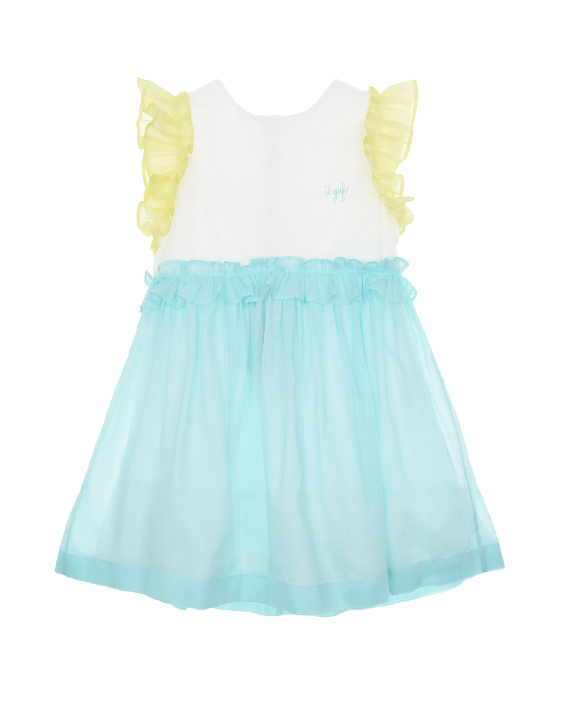 Купить Платье с желтыми рукавами-крылышками IL Gufo детское, Мультиколор, 100%хлопок