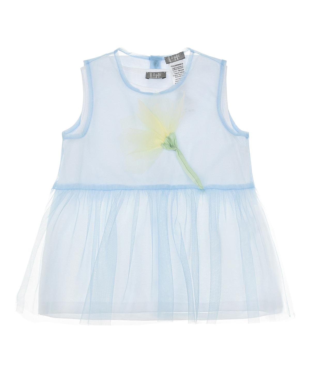 Голубой топ с цветочной аппликацией IL Gufo детский, 100%полиамид, 100%хлопок  - купить со скидкой