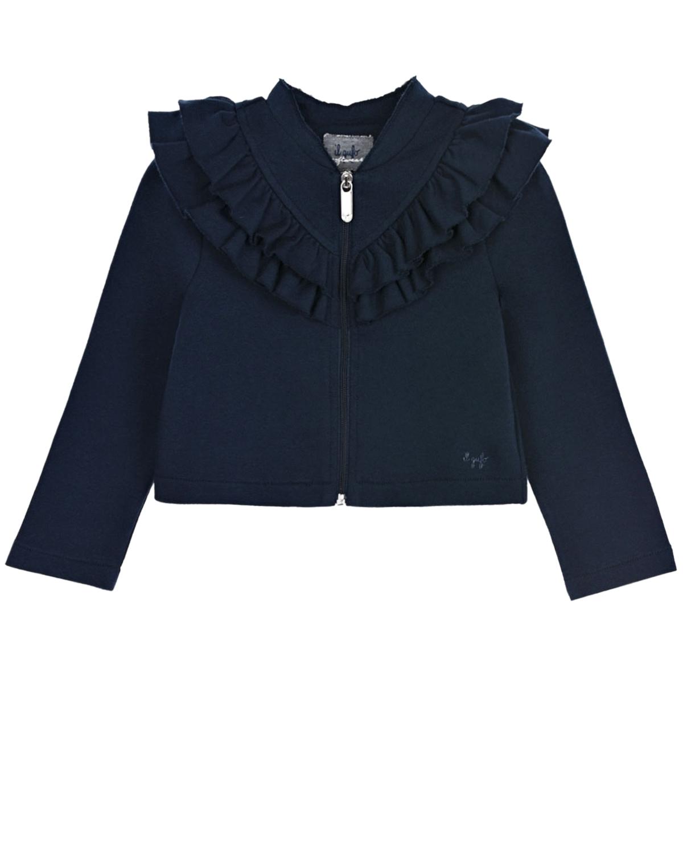 Купить Тено-синяя спортивная куртка с рюшами IL Gufo детское, Синий, 100%хлопок