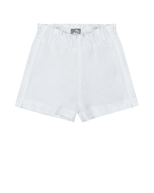 Купить Льняные шорты с поясом на резинке IL Gufo детские, Белый, 100%лен
