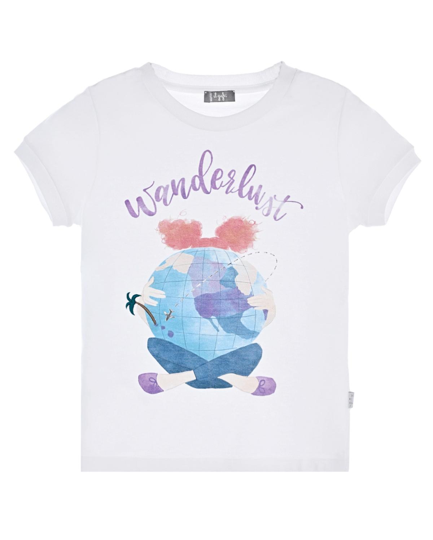 Купить Белая футболка с принтом wonderlust IL Gufo детская, Белый, 100%хлопок