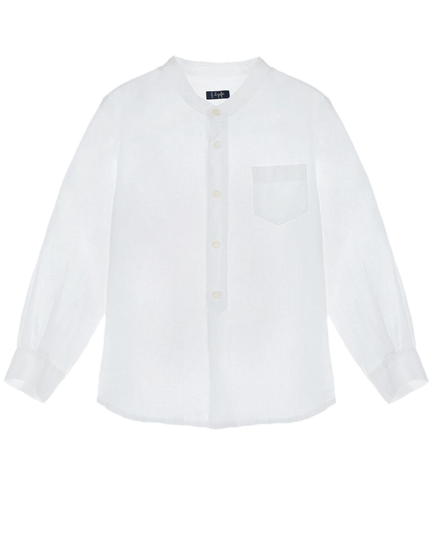 Купить Льняная рубашка с нагрудным карманом IL Gufo детская, Белый, 100%лен