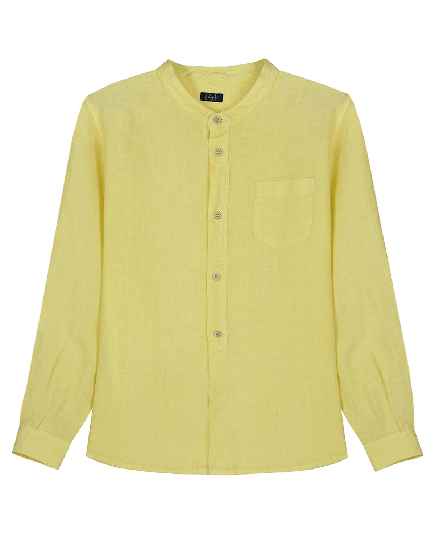 Льняная рубашка с длинным рукавом IL Gufo детская, Желтый, 100%лен  - купить со скидкой