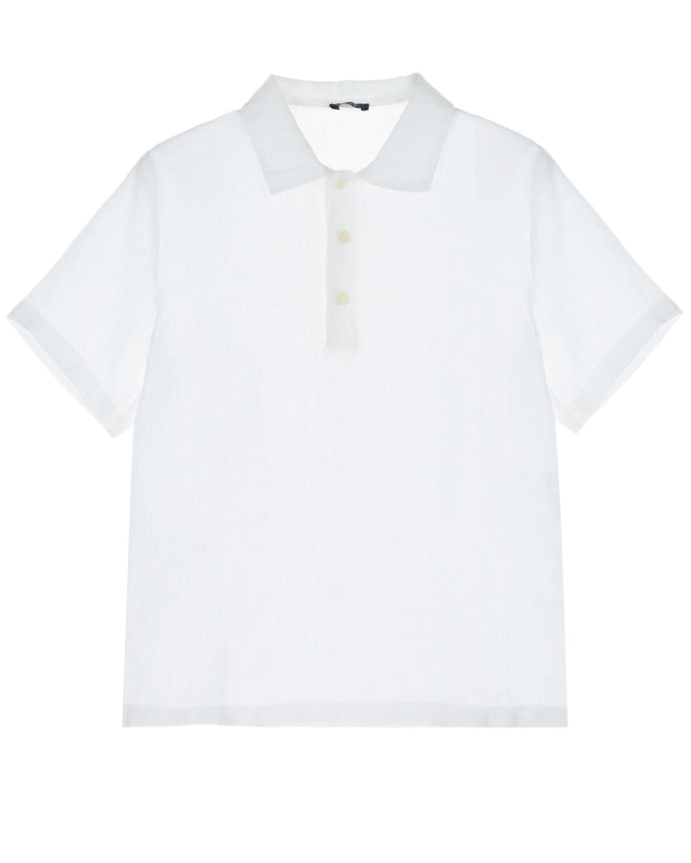 Купить Белая футболка-поло на пуговицах IL Gufo детская, Белый, 100%лен