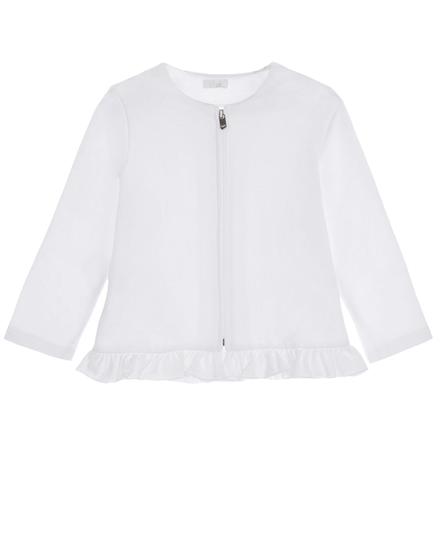 Спортивная куртка с отделкой рюшами IL Gufo детская, Белый, 100%хлопок  - купить со скидкой