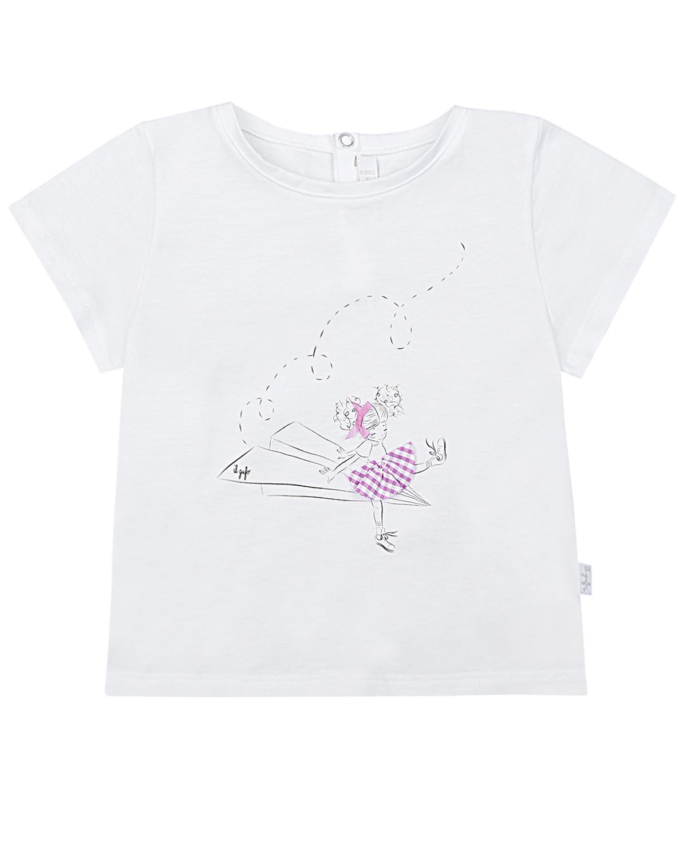 Купить Белая футболка с принтом девочка на самолете IL Gufo детская, Белый, 100%хлопок