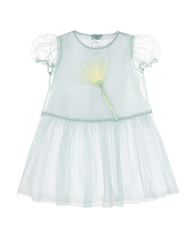 Купить Голубое платье с цветочной аппликацией IL Gufo детское, Голубой, 100%хлопок, 100%полиамид